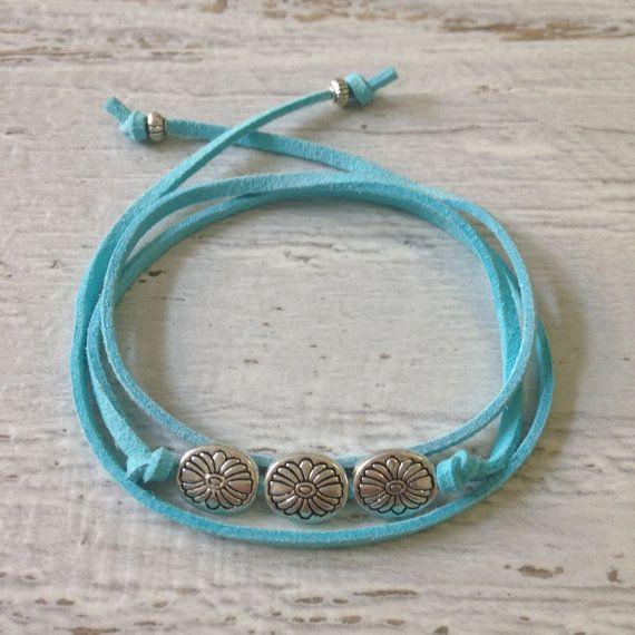 beachcomber turquoise faux suede bracelet , beach bohemian wrap bracelet , gypsy bracelet , beach boho bracelet