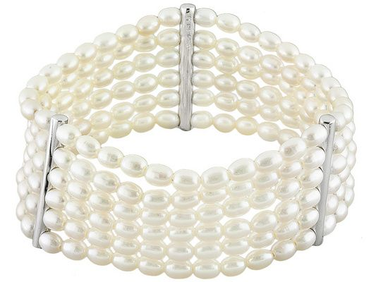 Dress up a look or compolete it with this stunning freshwater pearl bracelet! - 4-5mm White Cultured Freshwater Pearl Rhodium Over Sterling Silver Stretch Bracelet