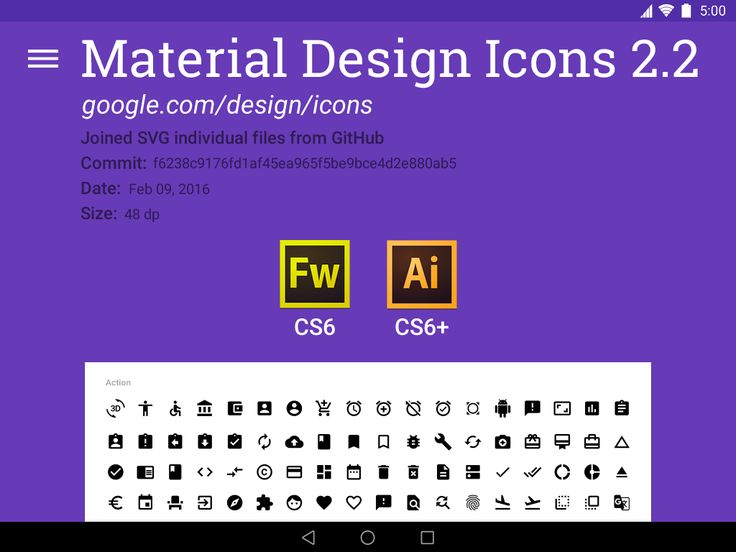 Material Design Icons 2.2 for FW & AI