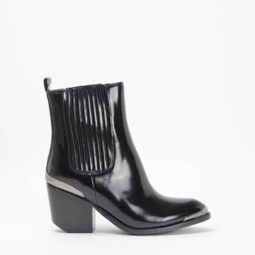 Jeffrey Campbell BENTLEY-2 High Ankle Western Chelsea Bootie Black Shine Calf Leather