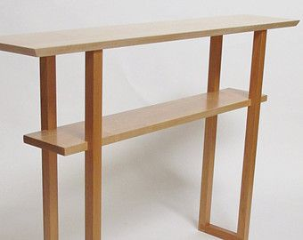 Minimalist Modern Wood Sofa Table With Shelf: Narrow Table, Wood Sofa  Console, Narrow Hallway Table  Handmade Wood Furniture, Custom Tables
