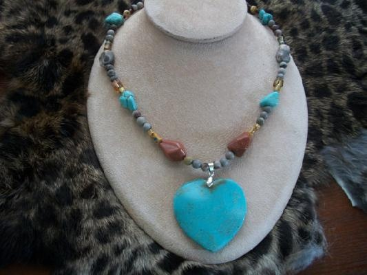 Turquoise Heart Pendant Necklace with Gemstone Beads, Free ShippingPendant Necklace, Heart Pendants Necklaces, Turquoise Heart