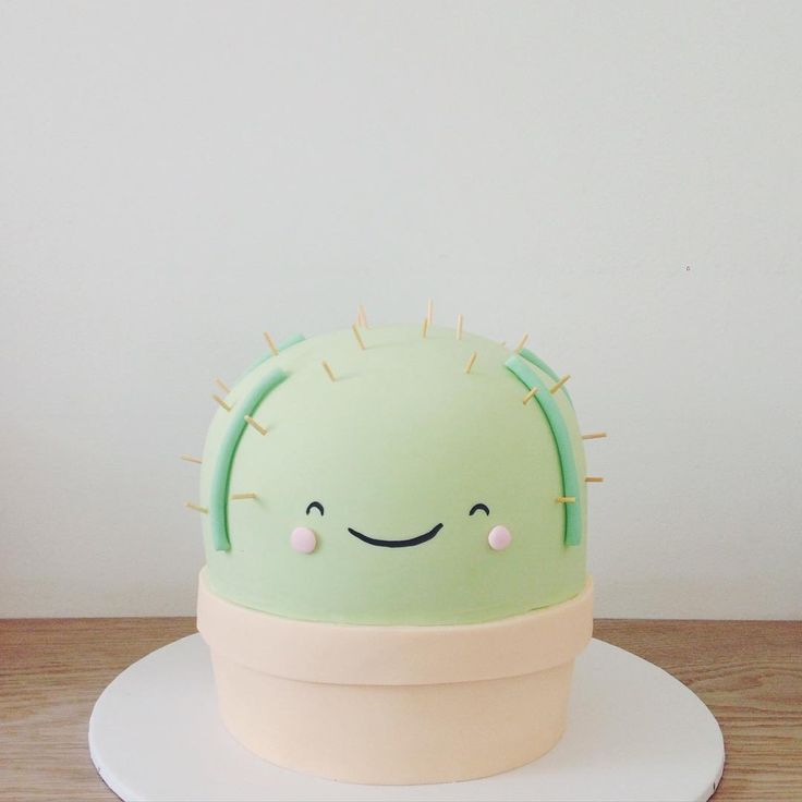 Cute cactus cake for a baby shower or birthday