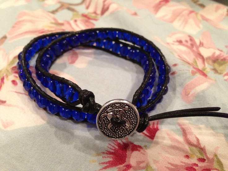 Double wrap made with black leather and 6mm Czech glass beads