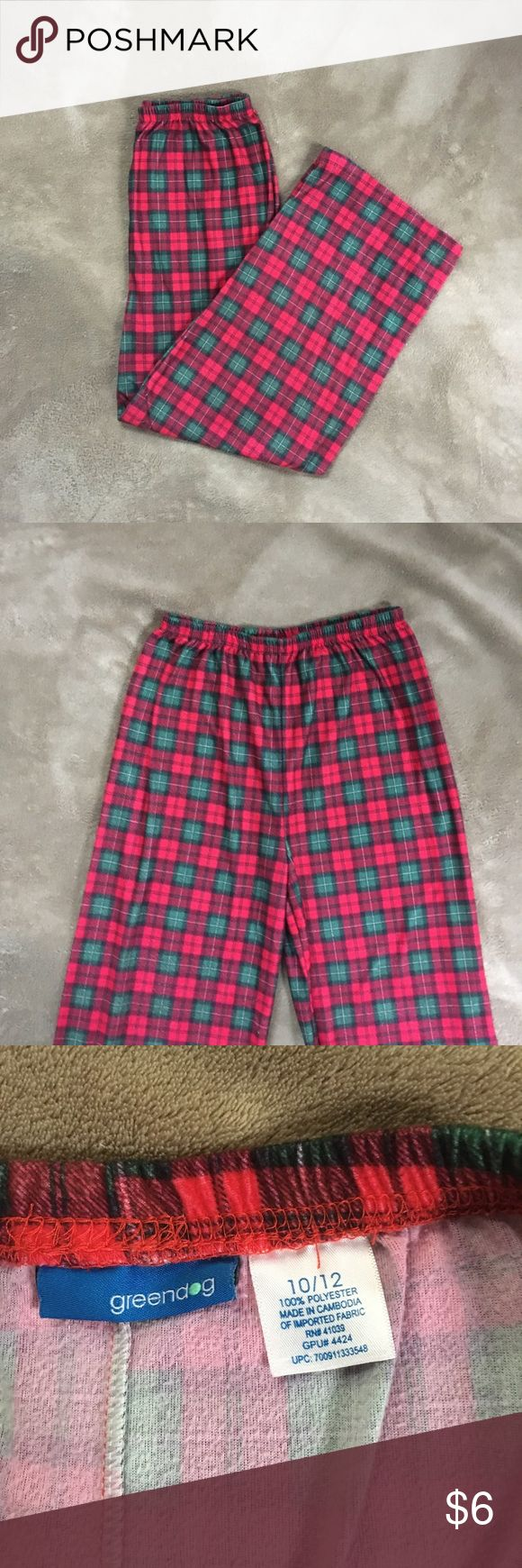 Kid's holiday pajama bottoms Super soft kid's pajama bottoms in a festive red and green plaid. Flannel-like texture, they are warm but not very thick. Gently used condition. Runs a little small, I'd say this would be more like an 8/10.  B Pajamas Pajama Bottoms