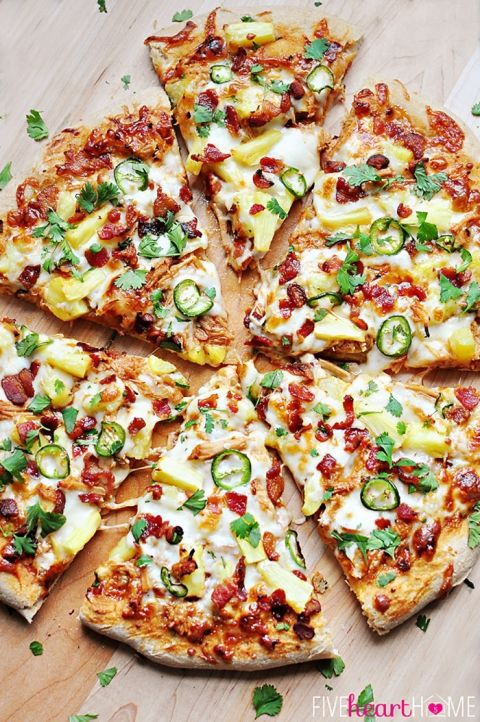 Pineapple Pulled Pork Pizza with Bacon, Jalapeños, Cilantro, and Homemade Pineapple BBQ Sauce (instead of pizza sauce) | FiveHeartHome.com