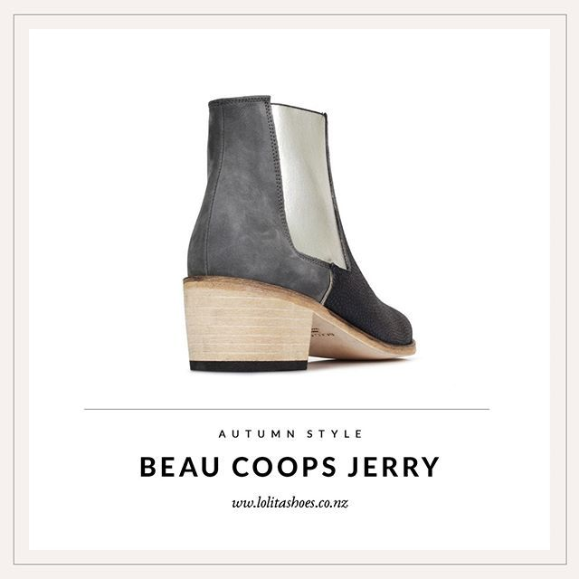 A sleek choice for work or weekend, Beau Coops Jerry features a natural stacked heel, contrast textures and silver metallic gusset.  .  .  #surroundyourselfwithbeauty #beaucoops #loveshoes