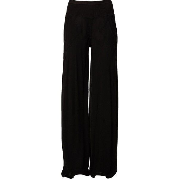 Rick Owens wide leg trousers ($1,005) ❤ liked on Polyvore featuring pants, black, wide-leg trousers, elastic waistband pants, black wide leg pants, wide-leg pants and rick owens