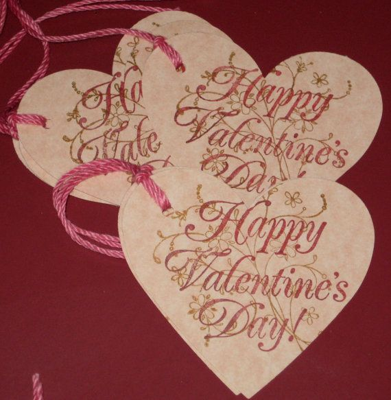 6 Be Happy Valentine's Day gift tags by Judyscrafts on Etsy, $4.99