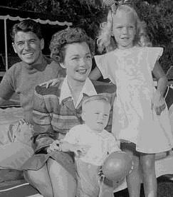 Ronald Reagan and first wife Jane Wyman  with daughter Maureen Elizabeth Reagan (January 4, 1941 - August 3, 2001) and adopted son Michael Reagan (March 18 1945 - ).