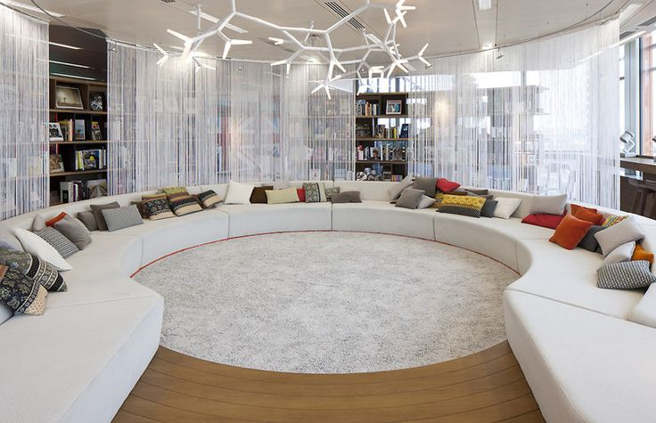 Rockstar Library in Google's London  Office, complete with white cascade coil.  Great for making the library a gathering room with sophistication and flair.