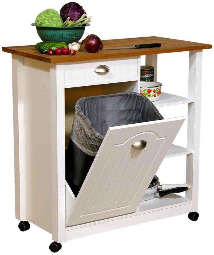 Venture Horizon Mobile Kitchen Island Trash Bin w 3 Shelf Pantry & Reviews  (4125-