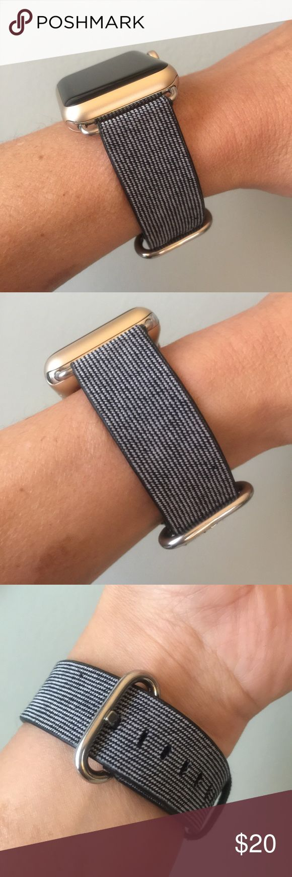 Dark Blue with gray stripes Apple Watch band ⌚️ Dark Blue with gray stripes Apple Watch band with silver hardware ⌚️  High quality canvas nylon band.  It comes with 38mm or 42mm adapters. Please select your size when you purchase. The adapters fit the Apple Watch I, 2 & Sport.   I have other band colors, hardware colors and styles in my closet. Check them out!   I offer 15% off if you buy two or more! Please add BOTH items to the bundle for the discount to automatically apply.    Only the…