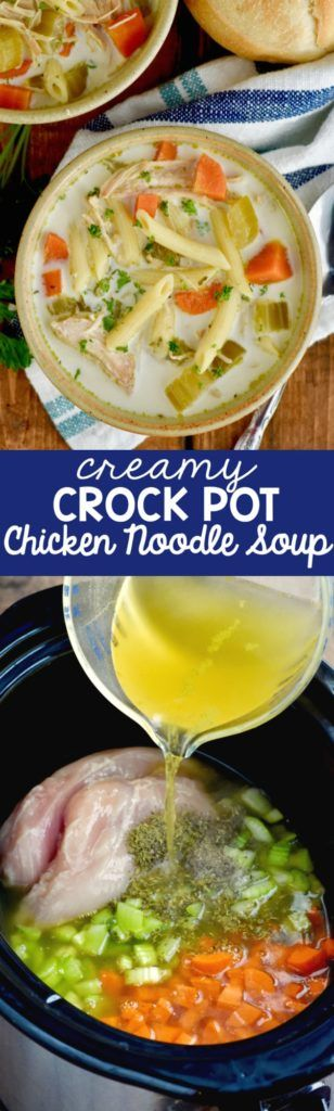 This Creamy Crock Pot Creamy Chicken Noodle Soup recipe is an easy chicken soup that whips up fast butis full of amazing flavor!