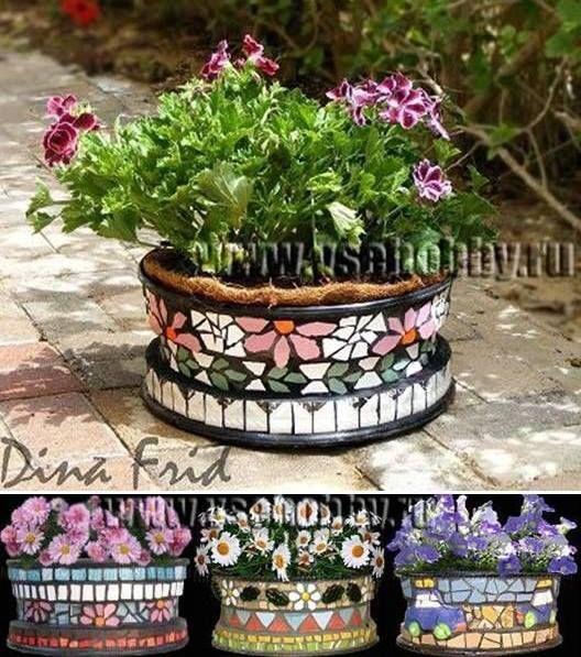 Tire rim into mosaic planter diy pinterest mosaic for Car tire flower planter