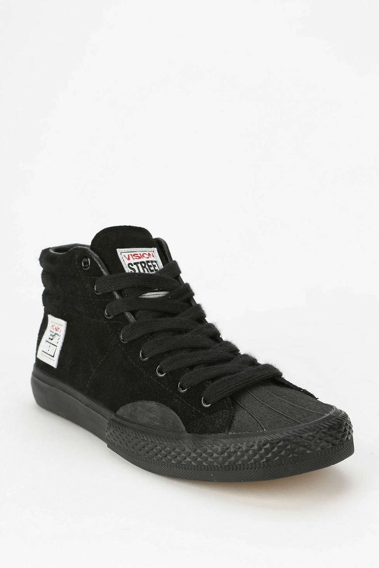 """Vision: Street Wear Suede High-Top Sneaker in """"Black"""" / Tonal high-top in rich suede, from our friends at Vision Street Wear. Fitted with a sturdy rubber sole and finished with a stitched logo-tag along the tongue + side."""" / $65.00"""