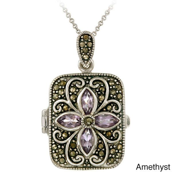 Glitzy Rocks Sterling Silver Gemstone and Marcasite Locket Necklace - Overstock™ Shopping - Top Rated Glitzy Rocks Locket Necklaces