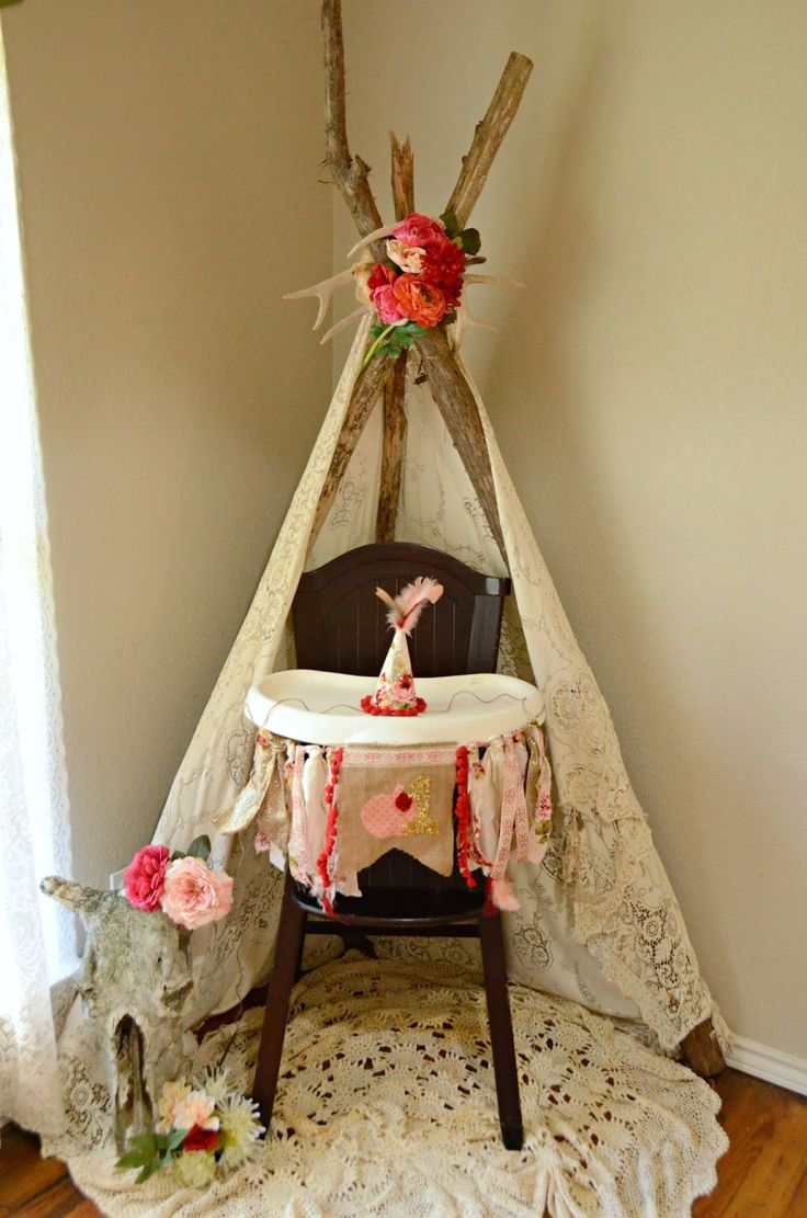 Boho First Birthday Tee-Pee Smash Cake Boho High Chair