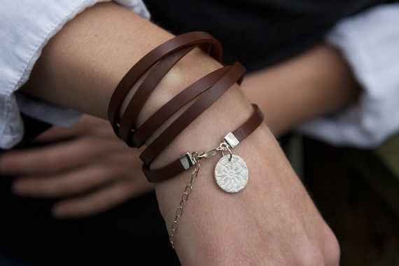 Five Time Red Brown Leather Wrap with Circular Floral Charm