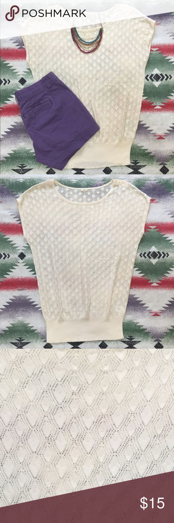 Crochet Short Sleeve Top Super Cute One Shoulder Button Detail ... Loose All Over to Form Fitting Band at Waist ... Wear with a Bandeau or Camisole! ***Only Worn TWICE*** 100% Cotton ... Machine Wash Cold & Lay Flat to Dry. J. Crew Tops