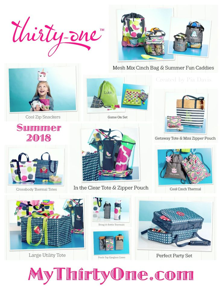#31 NEW for Summer 2018 from Thirty-One Gifts. In April, be on the look out for... Pinch-Top Eye Glass Cases... Crossbody Thermal Totes... Cool Cinch Thermals... Mesh Mix Cinch Bag... In The Clear Tote & Zipper Pouch... Summer Fun Caddy... Bring A Bottle Thermals... Game On Set... Cool Zip Snackers. New prints include Slice of Summer, Going Gingham, On The Spot and more. See everything on MyThrityOne.com/PiaDavis or find your consultant in the upper right corner.