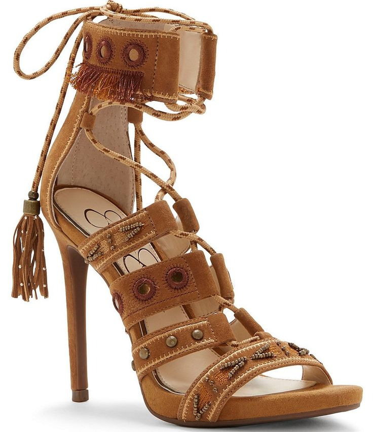 Honey Brown:Jessica Simpson Roona Suede Embroidered Studded Beaded Lace-Up Dress Sandals