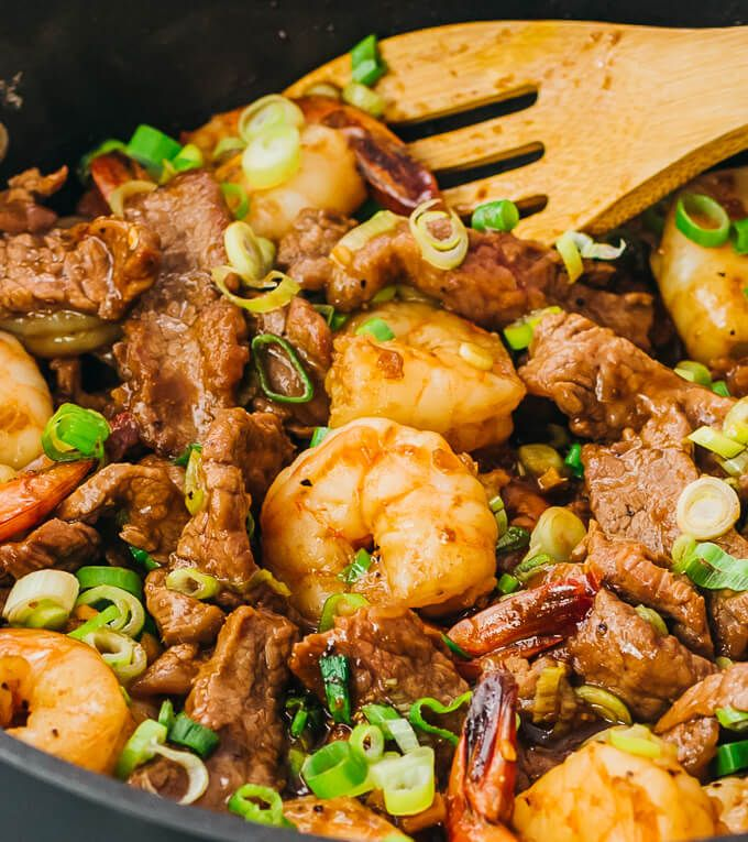 Asian Surf And Turf For Two This Stir Fry Version Includes Tender Beef Slices And Shrimp That A Beef Stir Fry Recipes Steak And Shrimp Stir Fry Shrimp Recipes