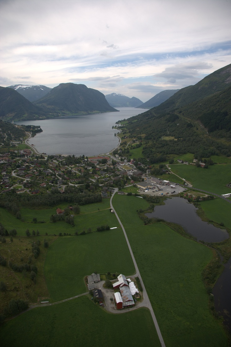 Lake Jølster with village Skei in the foreground.