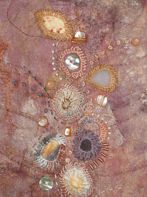 This is so beautiful-- detailed-- delicate. It captures the wonder of looking down at the sand and pebbles of the beach when the sun is making it all glisten. Beachcombing II (detail) by Helen~S, via Flickr