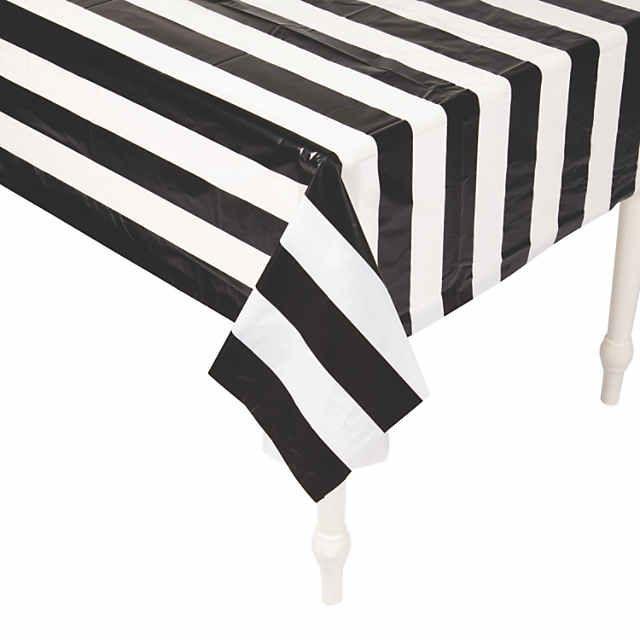 Black White Striped Plastic Tablecloth Roll Oriental Trading In 2020 Table Cloth Striped Tablecloths Black White Stripes