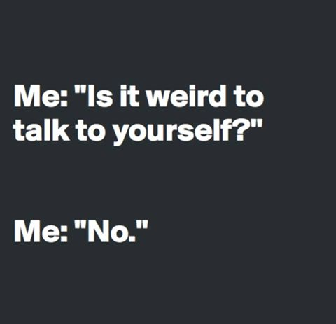 Me: Is it weird to talk to yourself? Me: No.