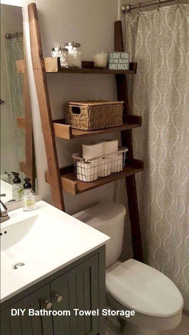 Great Diy Bathroom Towel Storage Ideas 2 In 2020 Small Bathroom Storage Bathroom Organization Diy Trendy Bathroom