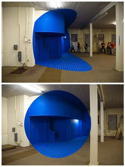 George Rousse.  This art work really demonstrates the power of optical illusions on our perception of reality.