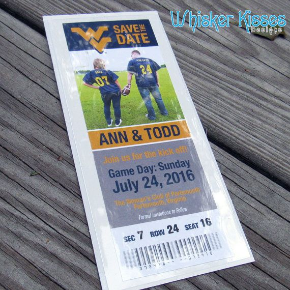 Are you a Sports fan? Send out your Save The Date as a Sporting Event Ticket! Use your favorite team or teams and have a custom team ticket save the date. We can do ANY team - Match ANY colors!  https://www.etsy.com/shop/WhiskerKissesDesigns