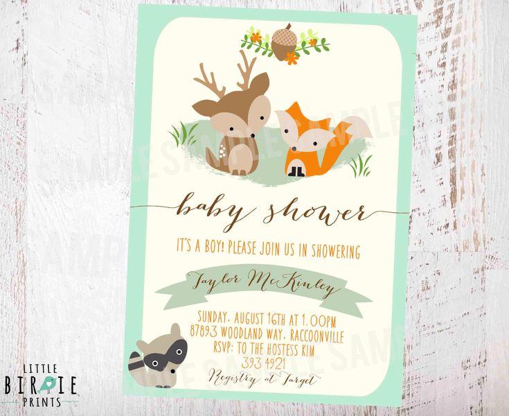 WOODLAND Baby Shower Invitation Mint Gender Neutral Invitation Fox Deer Raccoon…