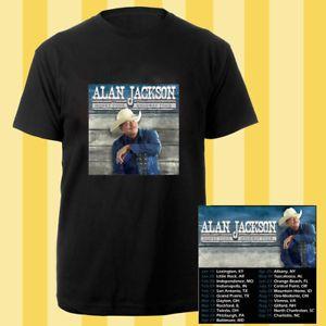 Alan Jackson Honky Tonk Highway tour dates jan-sep 2018 black tees; Material 100% cotton, Basic style; Short sleeve;