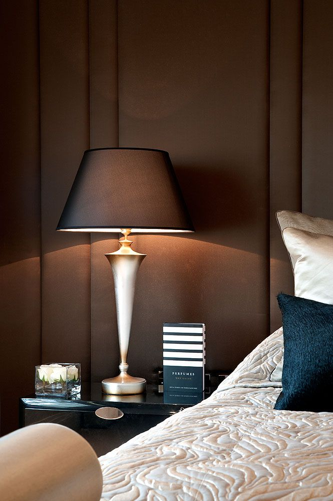 Sumptuous Upholstered Headboard Wall With Metallic Bedside Lamps Hill House  Interiors