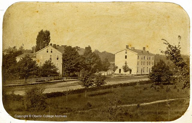 (c.1850s-60s) Colonial Hall and the first Ladies Hall - Oberlin College, Ohio