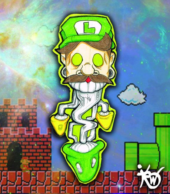 Luigi hand drawn sticker by brandonthewizard on etsy