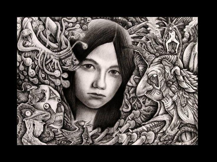 Ariel Guerra | tsū ''III'' Técnica mixta sobre papel. #drawing #portrait #blackandwhite #A