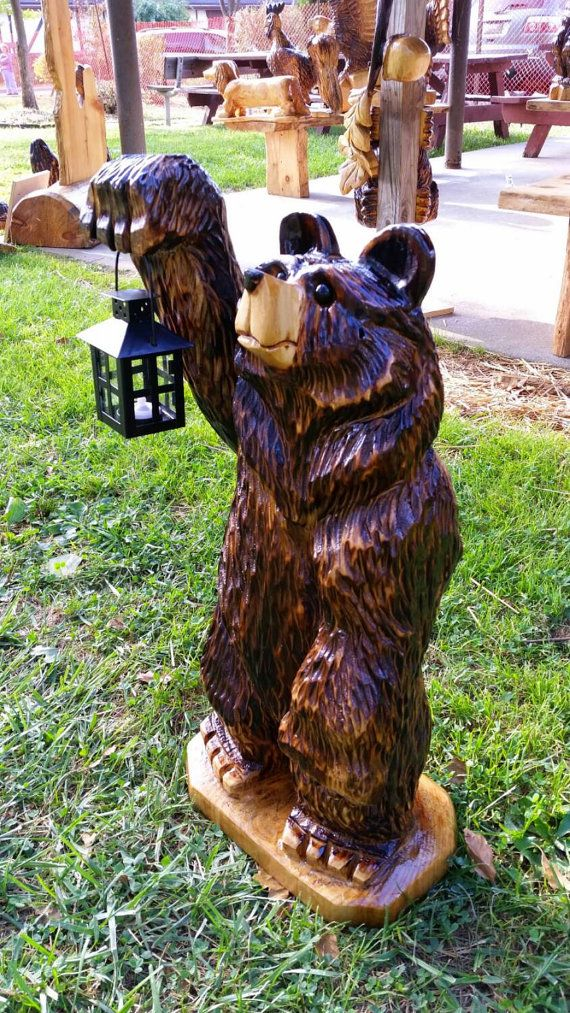 Chainsaw carving carved lantern bear chain saw