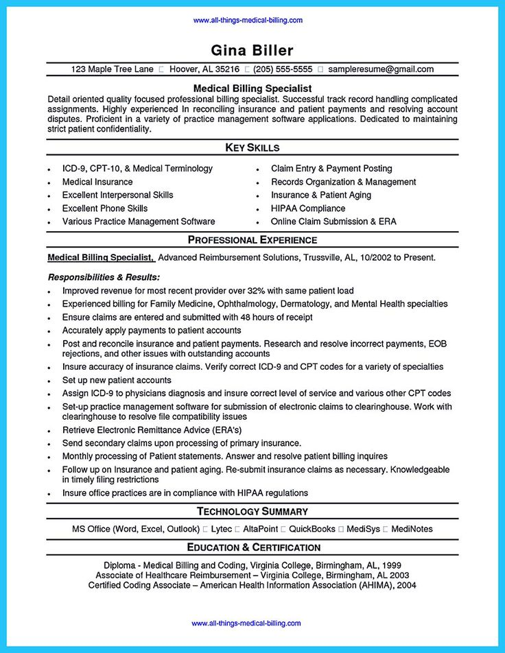 Medical Billing And Coding Resume Sample | Sample Resume And Free
