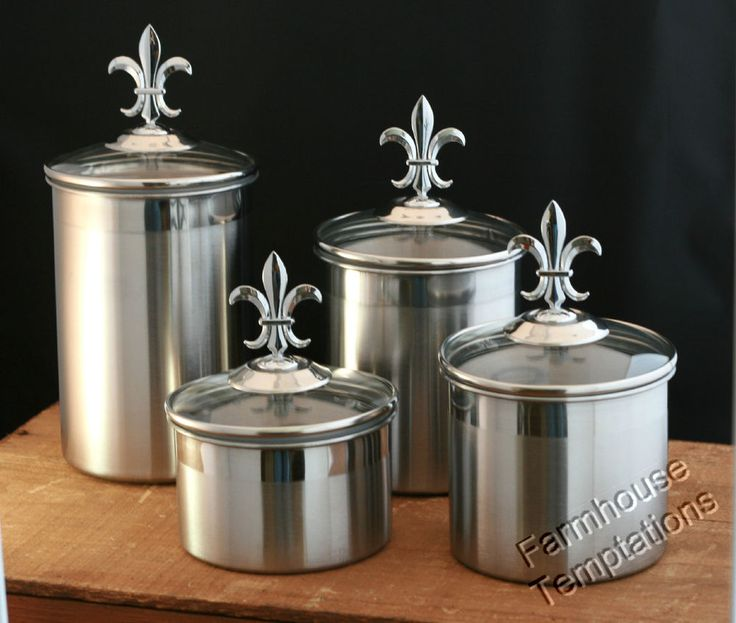 STAINLESS STEEL FLEUR DE LIS FINIALS Canister Set KITCHEN 4PC TUSCAN Silver  NEW