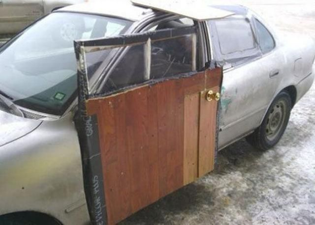 how to fix your car door use a wooden door brilliant lol pinterest cars home and funny. Black Bedroom Furniture Sets. Home Design Ideas