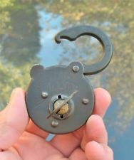 "OLD VINTAGE / ANTIQUE LOCK ""SECURE LEVER"" IRON 8 LEVER #7 PADLOCK W/ KEY"