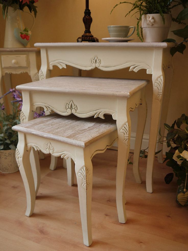 Shabby Chic French Vintage Style Cream Nest Of Tables Side