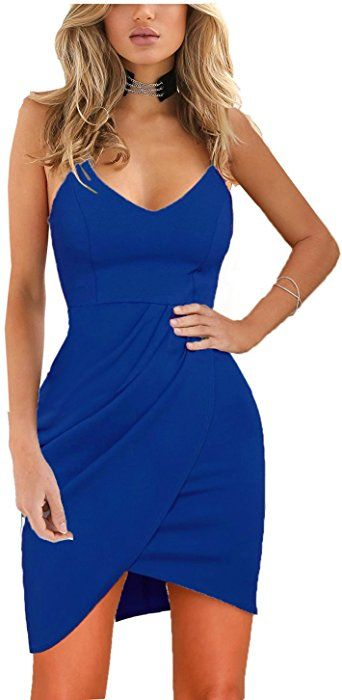c689b35e620 Zalalus Women's Bodycon Cocktail Party Dresses Deep V Neck Backless  Spaghetti Straps Sexy Summer Short Casual Club Dress Above Knee Length  Sleeveless Royal ...