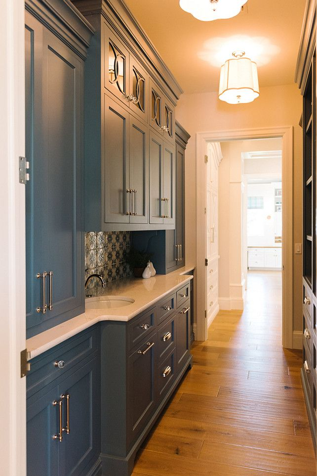 """Inspiring Family Home Interiors - """"Butler's Pantry Cabinet Paint Color"""" (Benjamin Moore Philipsburg Blue HC-159)"""