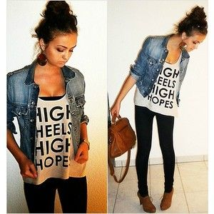 casual: Graphics Tees, Jeans Jackets, High Hope, Cute Outfits, Denim Jackets, Heels High, High Heels, Black Jeans, T Shirts
