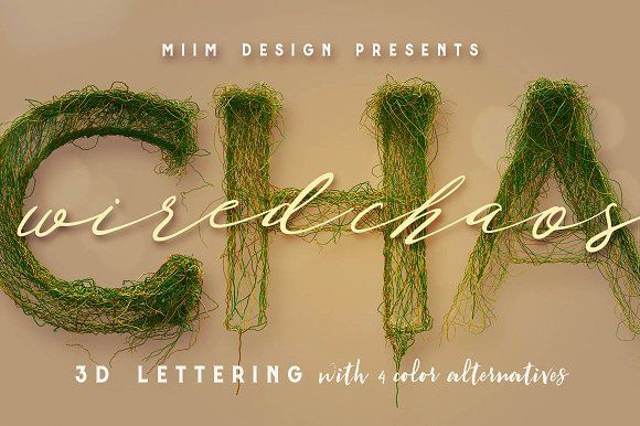 Wired Chaos - 3D Lettering by MIIM on @creativemarket